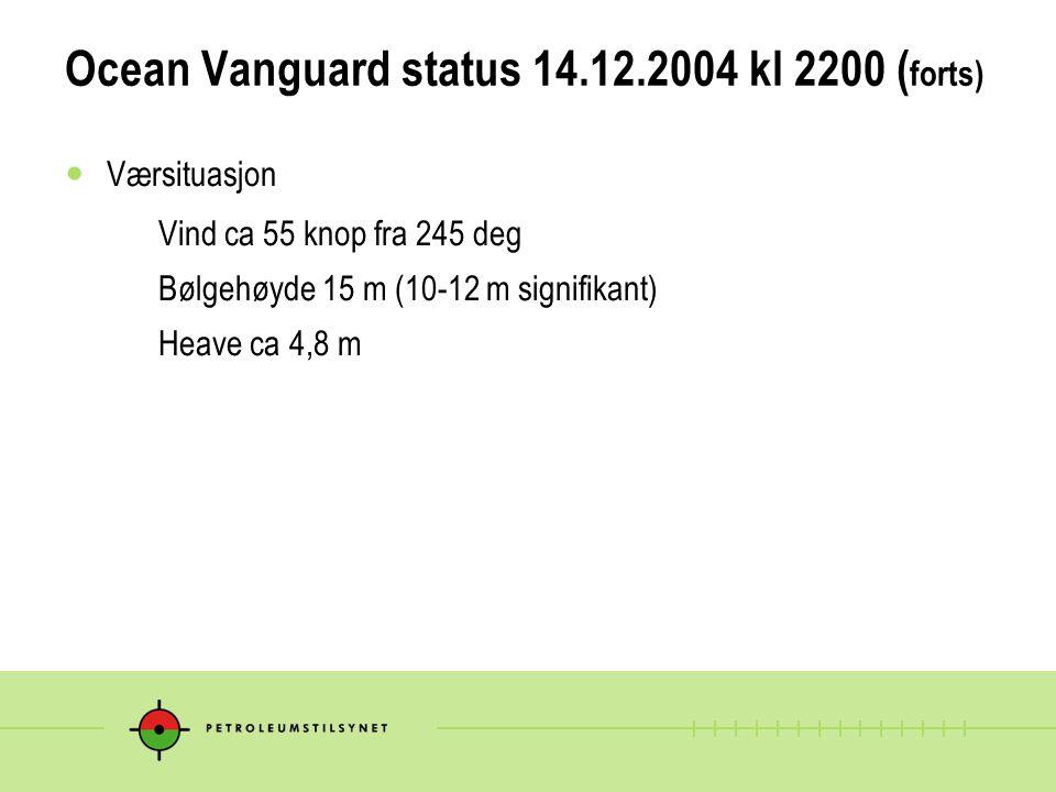 Ocean Vanguard status 14.12.2004 kl 2200 (forts)