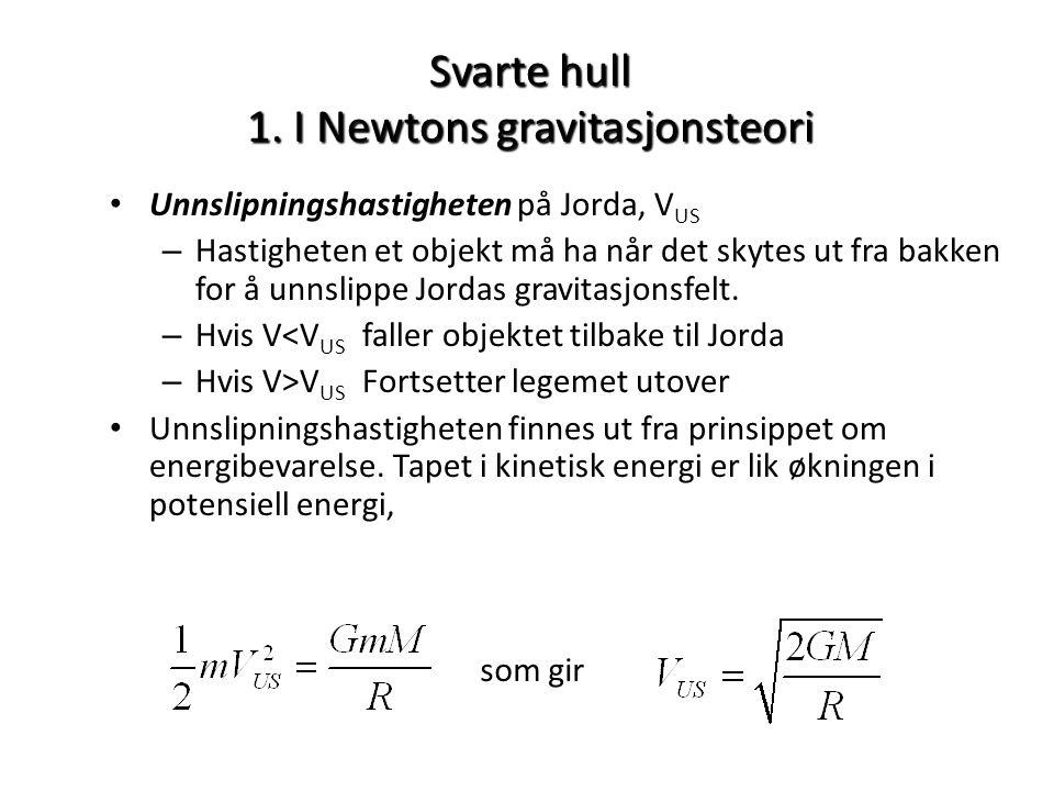 Svarte hull 1. I Newtons gravitasjonsteori