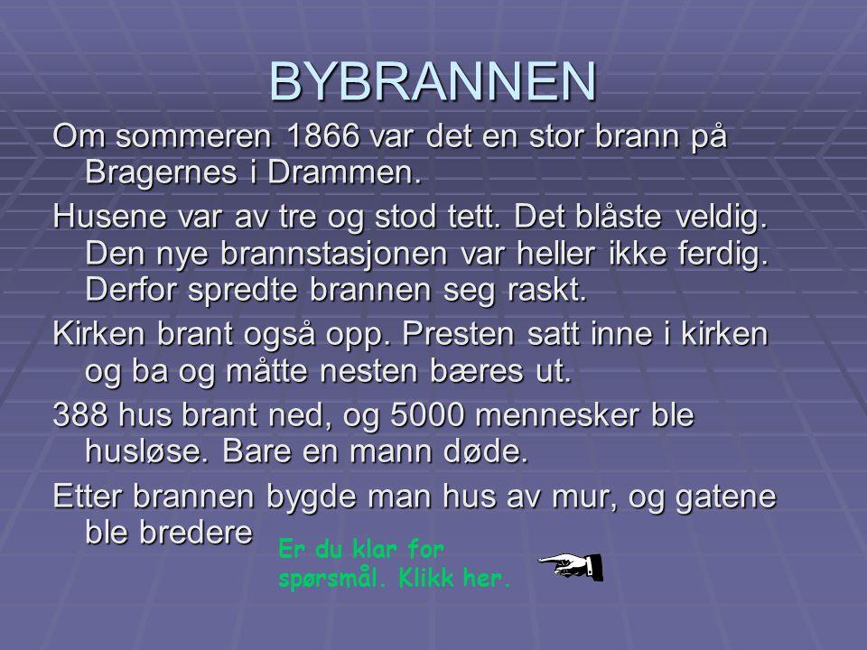 BYBRANNEN Om sommeren 1866 var det en stor brann på Bragernes i Drammen.
