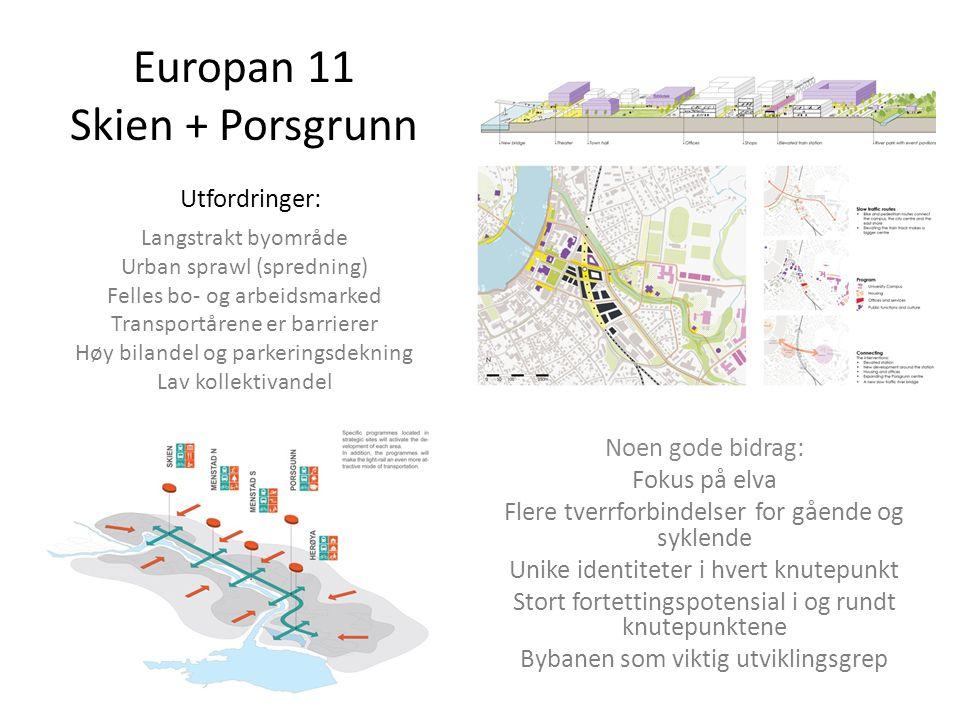 Europan 11 Skien + Porsgrunn Utfordringer: Langstrakt byområde Urban sprawl (spredning) Felles bo- og arbeidsmarked Transportårene er barrierer Høy bilandel og parkeringsdekning Lav kollektivandel