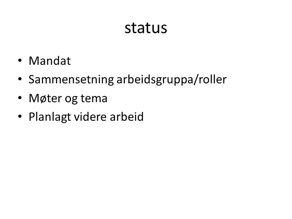 status Mandat Sammensetning arbeidsgruppa/roller Møter og tema