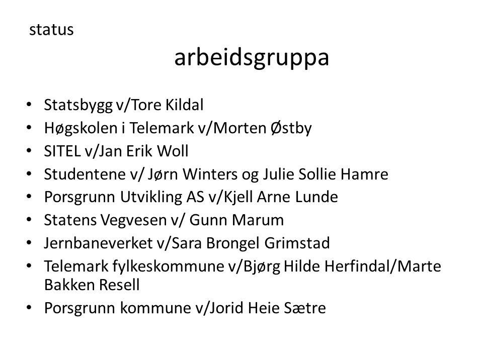 status arbeidsgruppa Statsbygg v/Tore Kildal