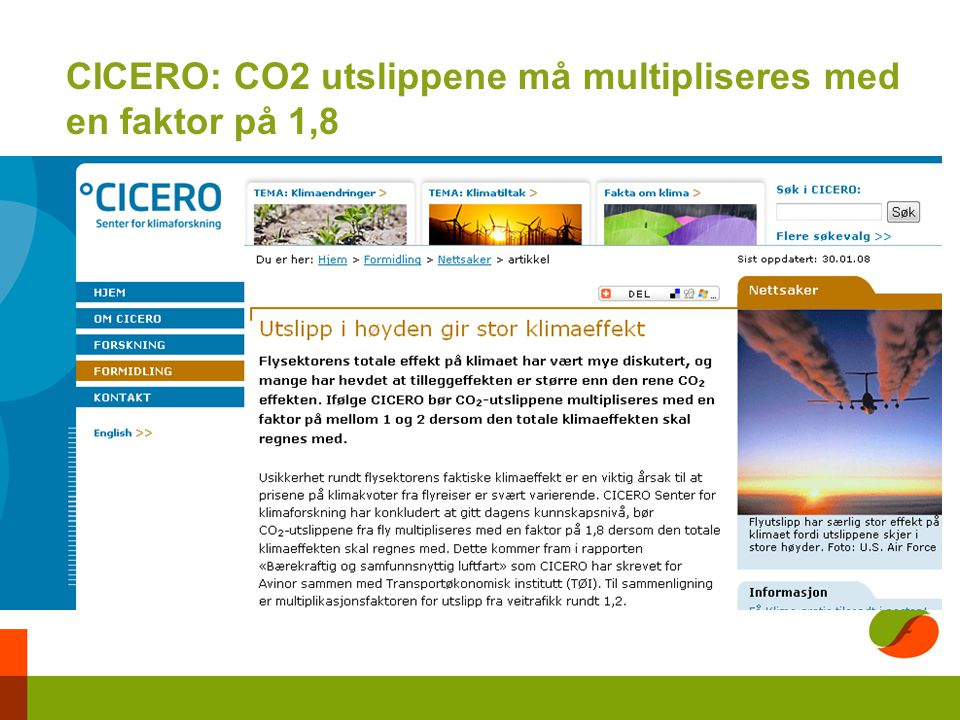 CICERO: CO2 utslippene må multipliseres med en faktor på 1,8