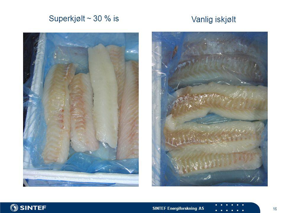 Superkjølt ~ 30 % is Vanlig iskjølt