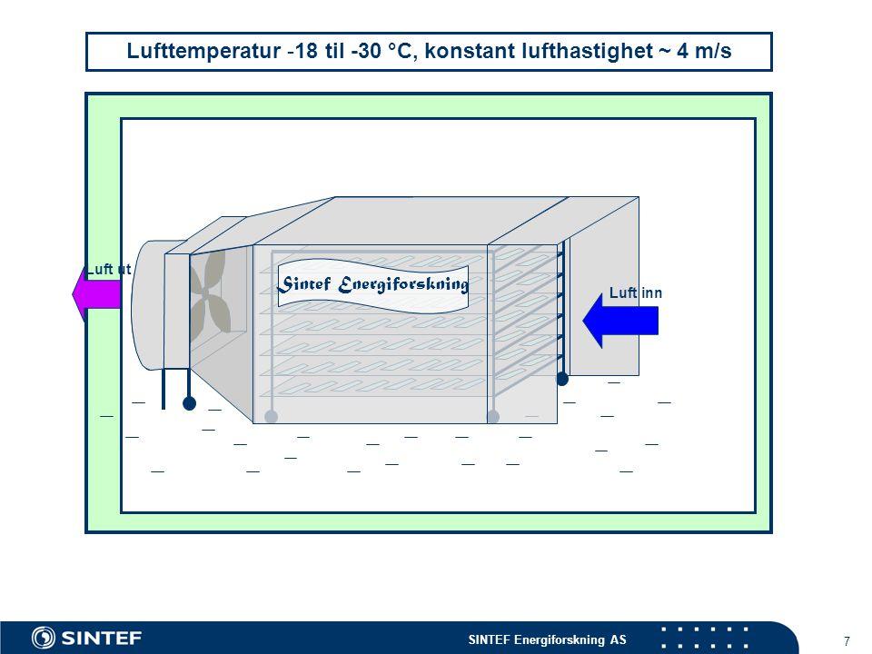 Lufttemperatur -18 til -30 °C, konstant lufthastighet ~ 4 m/s