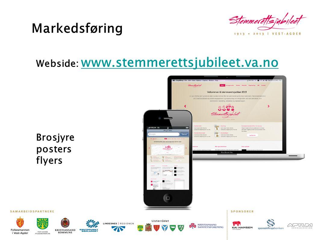 Markedsføring Webside: www.stemmerettsjubileet.va.no Brosjyre posters