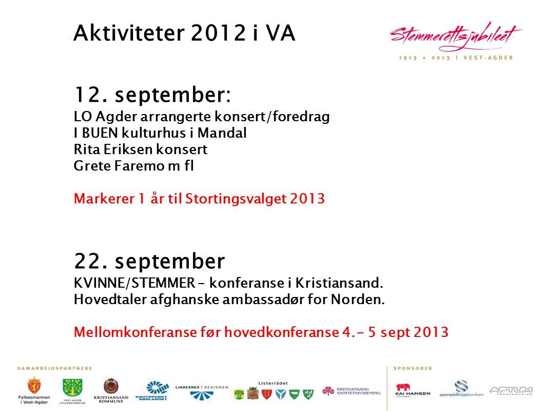 Aktiviteter 2012 i VA 12. september: LO Agder arrangerte konsert/foredrag. I BUEN kulturhus i Mandal Rita Eriksen konsert.