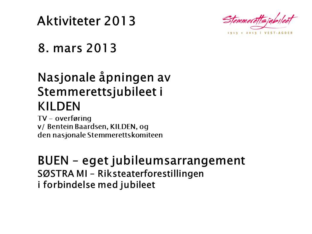 Aktiviteter 2013 8. mars 2013. Nasjonale åpningen av Stemmerettsjubileet i. KILDEN TV - overføring.