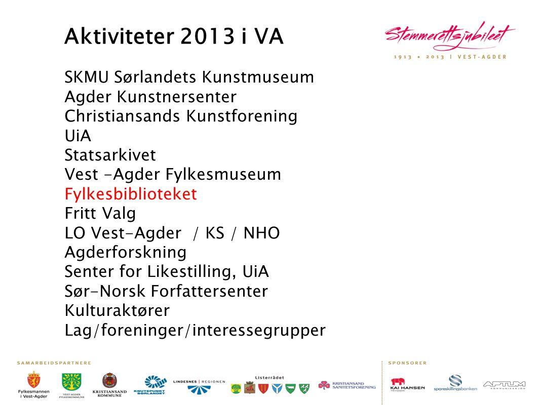 Aktiviteter 2013 i VA SKMU Sørlandets Kunstmuseum Agder Kunstnersenter