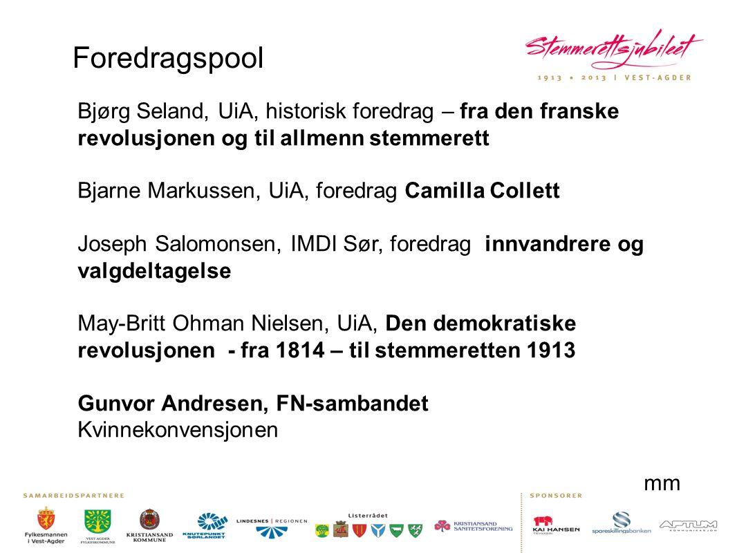 Foredragspool Bjørg Seland, UiA, historisk foredrag – fra den franske revolusjonen og til allmenn stemmerett.