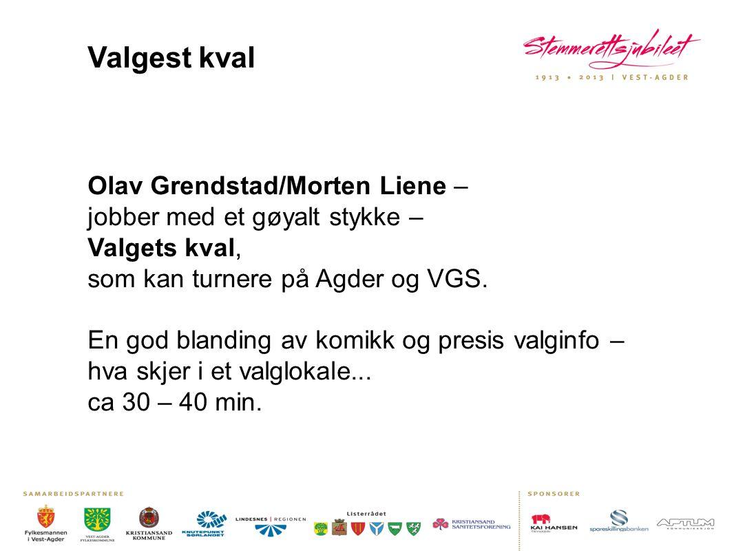 Valgest kval Olav Grendstad/Morten Liene – jobber med et gøyalt stykke – Valgets kval, som kan turnere på Agder og VGS.