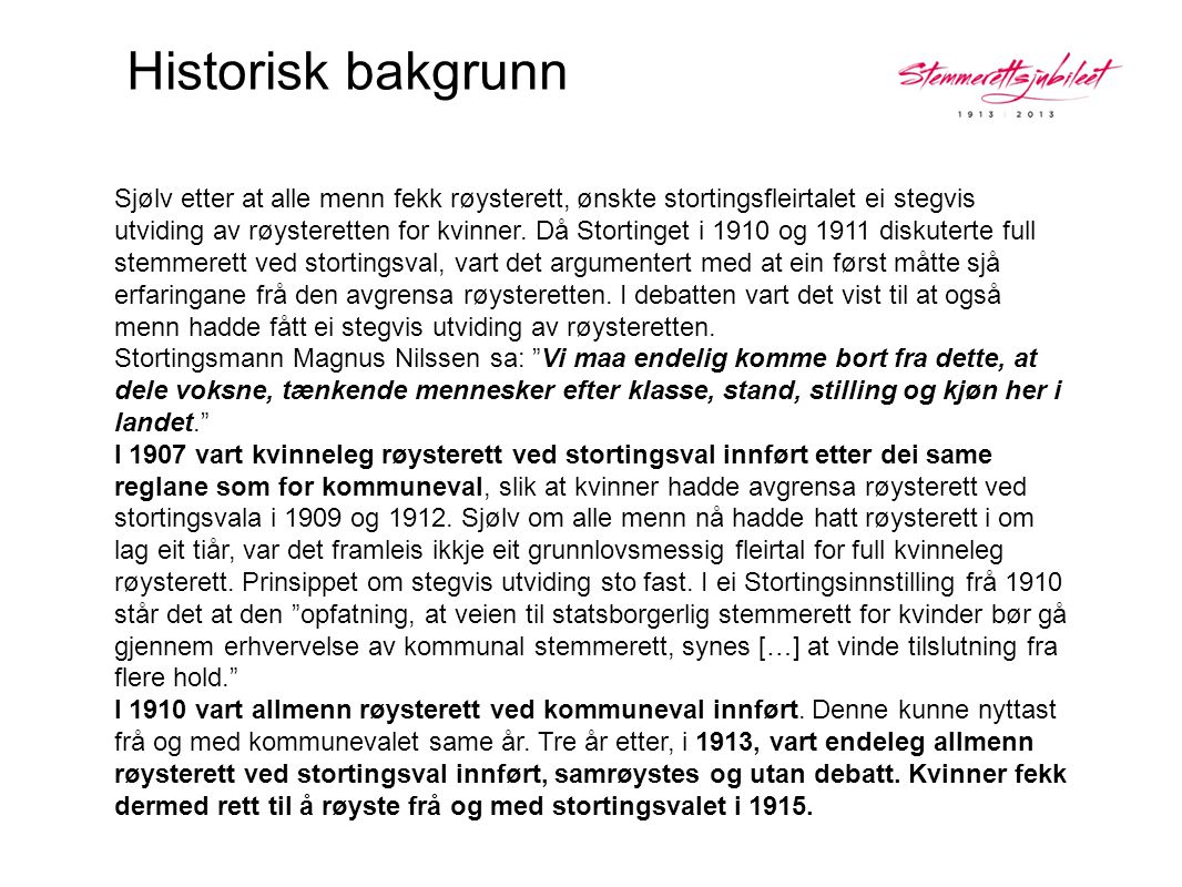 Historisk bakgrunn