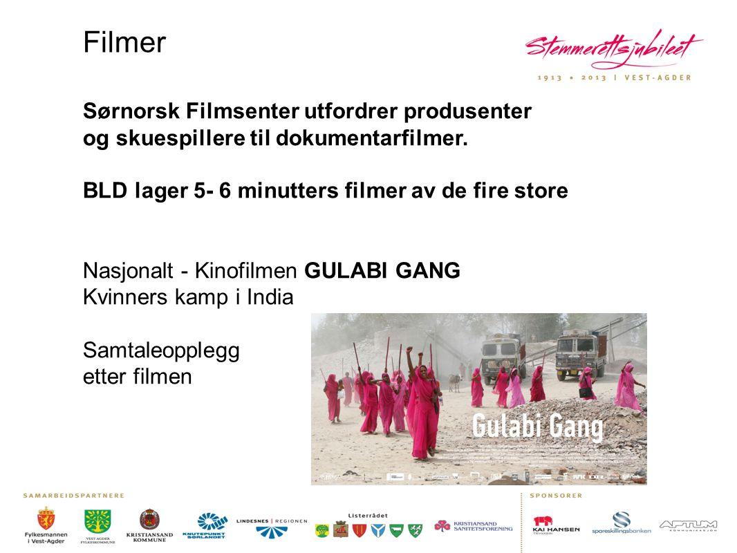 Filmer Sørnorsk Filmsenter utfordrer produsenter og skuespillere til dokumentarfilmer. BLD lager 5- 6 minutters filmer av de fire store.