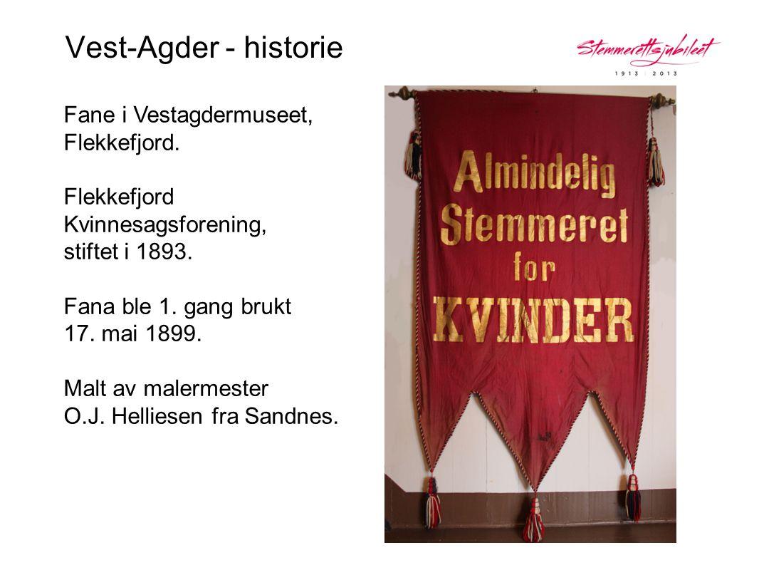 Vest-Agder - historie Fane i Vestagdermuseet, Flekkefjord. Flekkefjord Kvinnesagsforening, stiftet i 1893. Fana ble 1. gang brukt 17. mai 1899.