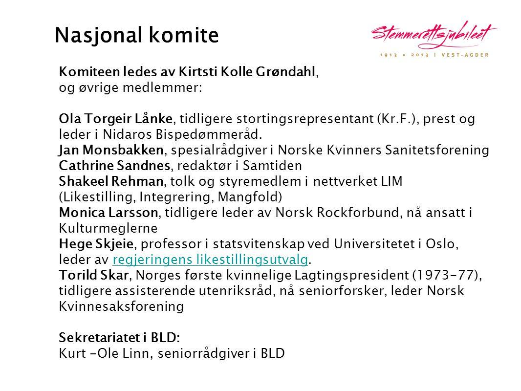 Nasjonal komite Komiteen ledes av Kirtsti Kolle Grøndahl, og øvrige medlemmer:
