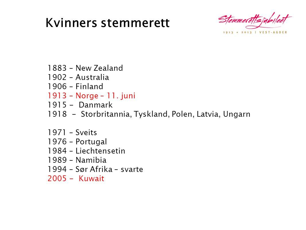 Kvinners stemmerett 1883 – New Zealand 1902 – Australia 1906 – Finland