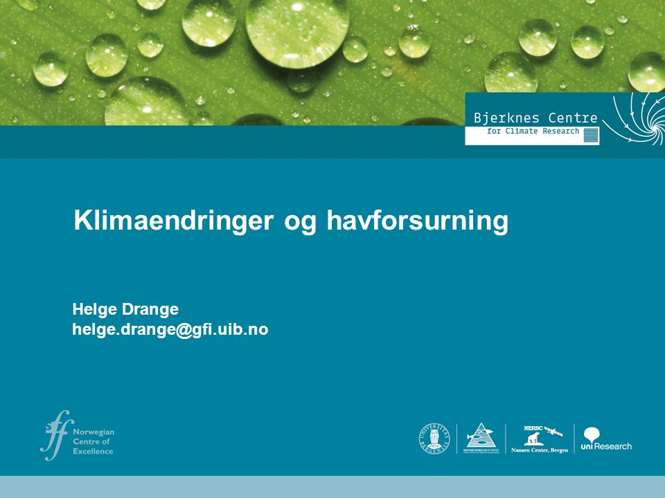 Klimaendringer og havforsurning