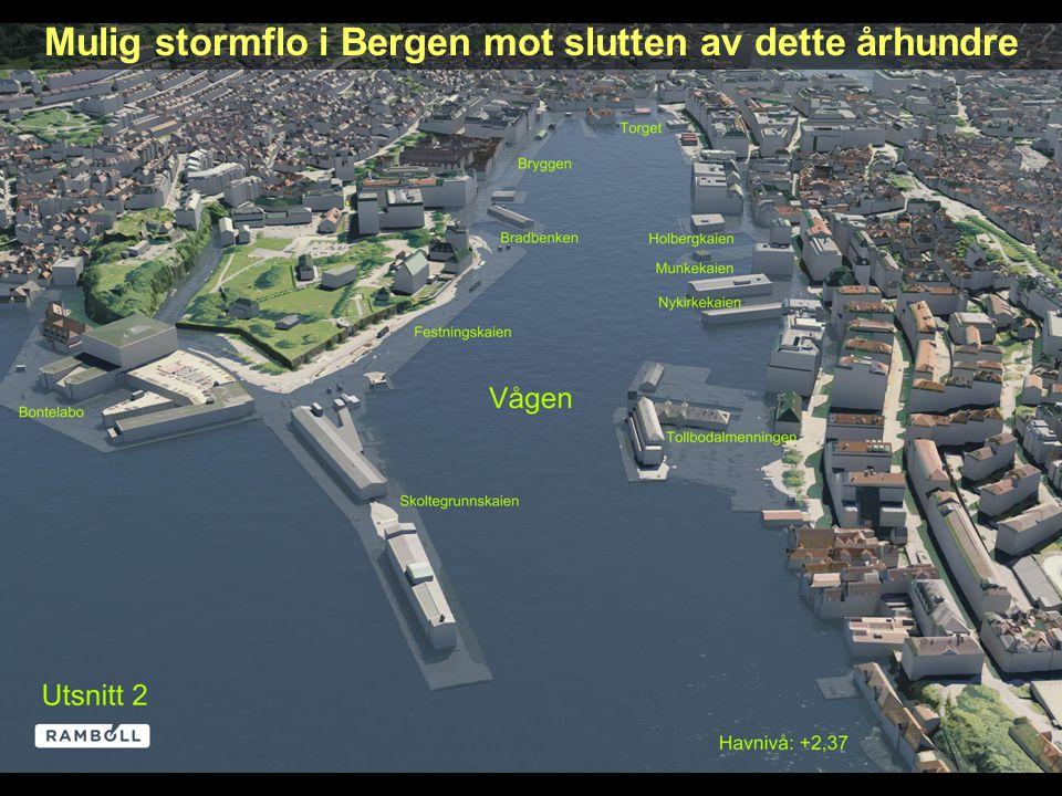 Mulig stormflo i Bergen mot slutten av dette århundre