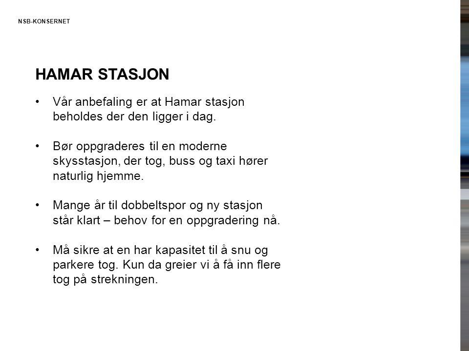 Hamar stasjon Vår anbefaling er at Hamar stasjon beholdes der den ligger i dag.