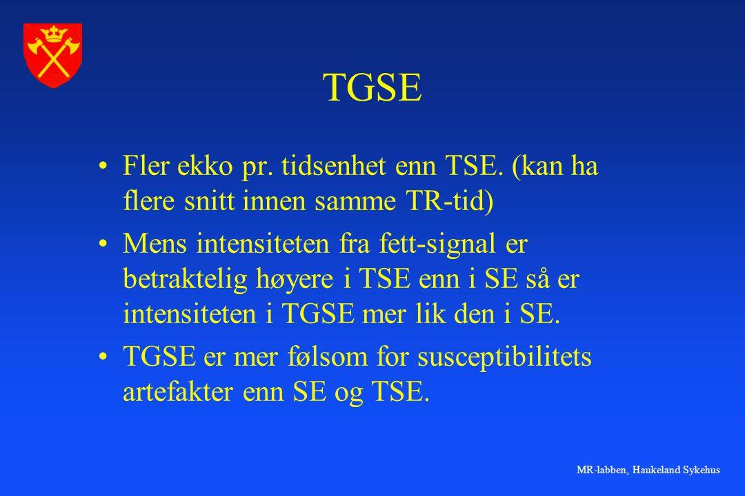 TGSE Fler ekko pr. tidsenhet enn TSE. (kan ha flere snitt innen samme TR-tid)