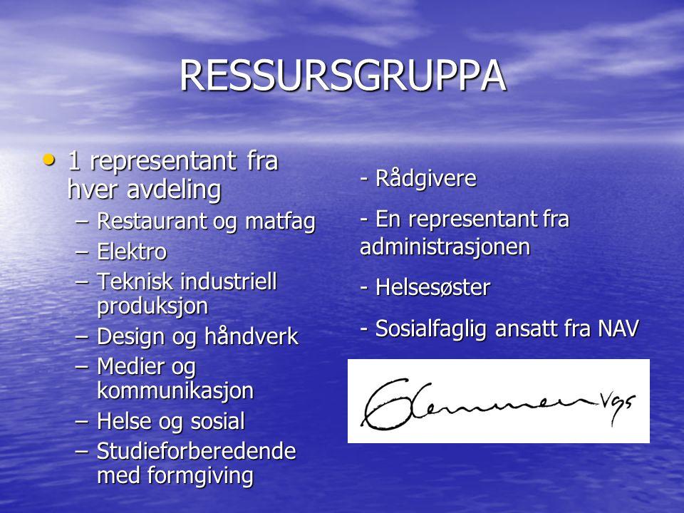 RESSURSGRUPPA 1 representant fra hver avdeling - Rådgivere