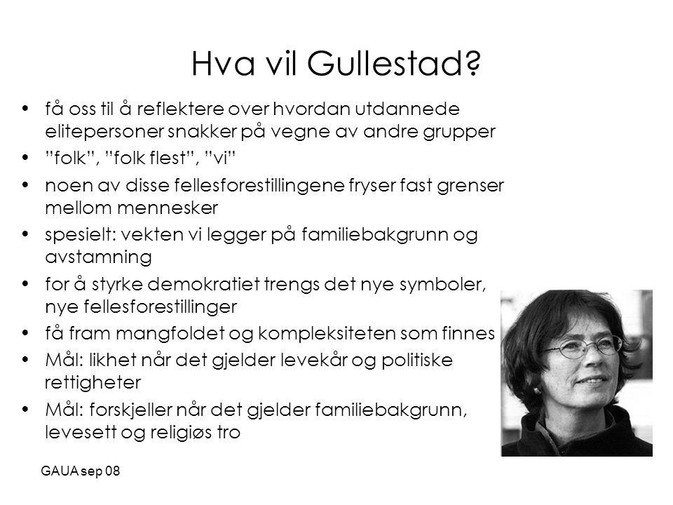 Hva vil Gullestad få oss til å reflektere over hvordan utdannede elitepersoner snakker på vegne av andre grupper.