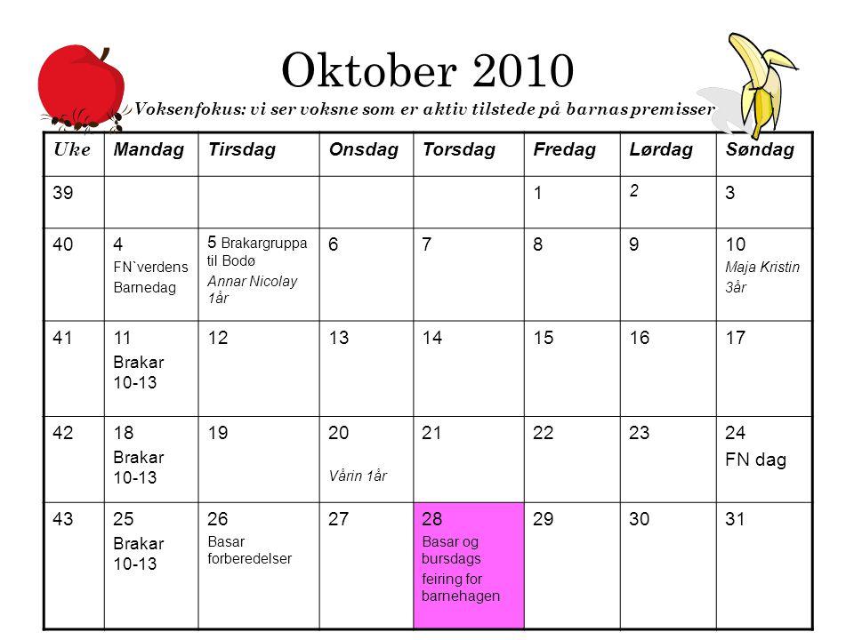 Oktober 2010 Voksenfokus: vi ser voksne som er aktiv tilstede på barnas premisser.