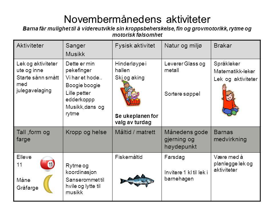 Novembermånedens aktiviteter Barna får mulighet til å videreutvikle sin kroppsbeherskelse, fin og grovmotorikk, rytme og motorisk følsomhet