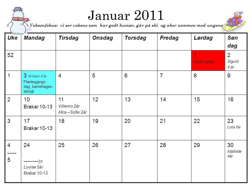 Januar 2011 Voksenfokus: vi ser voksne som har godt humør, går på ski og aker sammen med ungene