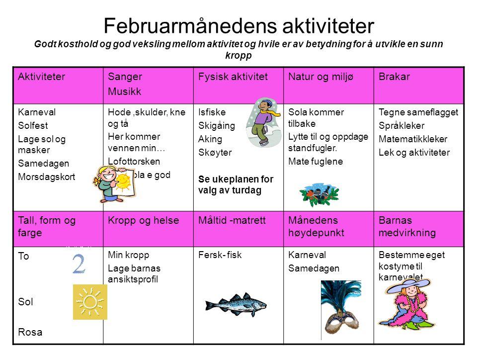 Februarmånedens aktiviteter Godt kosthold og god veksling mellom aktivitet og hvile er av betydning for å utvikle en sunn kropp