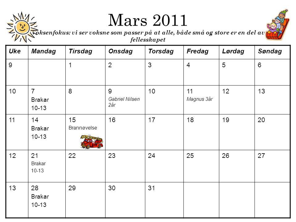 Mars 2011 Voksenfokus: vi ser voksne som passer på at alle, både små og store er en del av fellesskapet