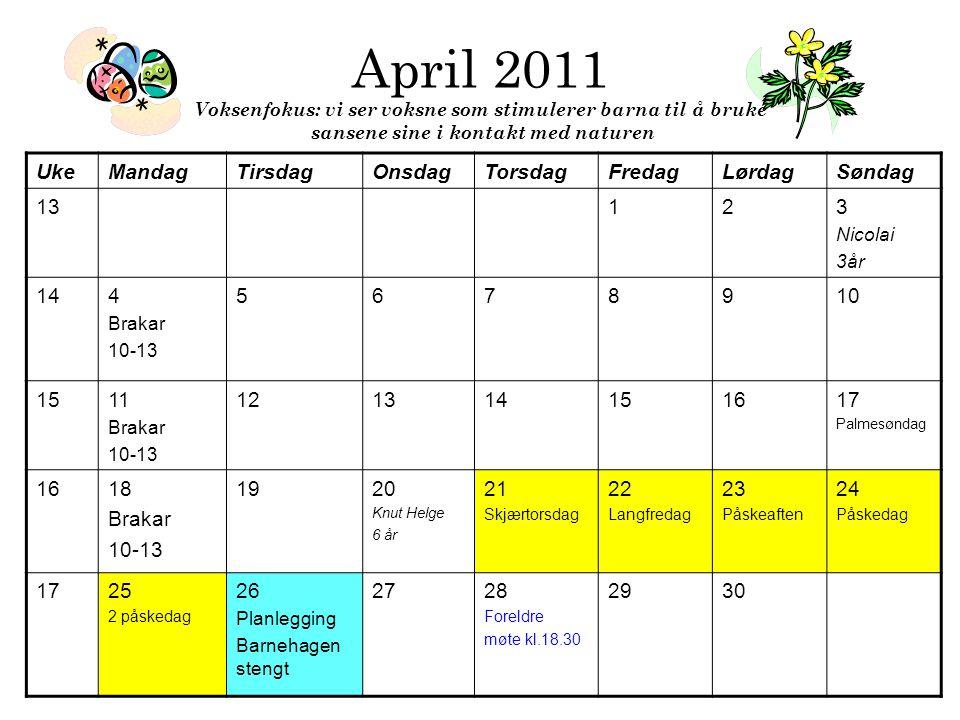 April 2011 Voksenfokus: vi ser voksne som stimulerer barna til å bruke sansene sine i kontakt med naturen