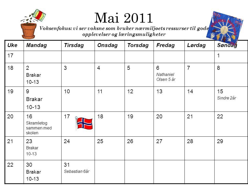 Mai 2011 Voksenfokus: vi ser voksne som bruker nærmiljøets ressurser til gode opplevelser og læringsmuligheter