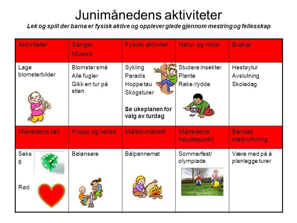 Junimånedens aktiviteter Lek og spill der barna er fysisk aktive og opplever glede gjennom mestring og fellesskap