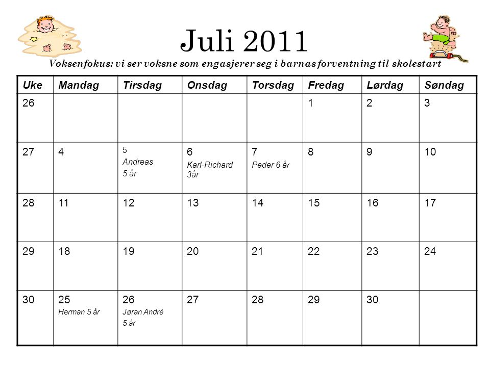 Juli 2011 Voksenfokus: vi ser voksne som engasjerer seg i barnas forventning til skolestart