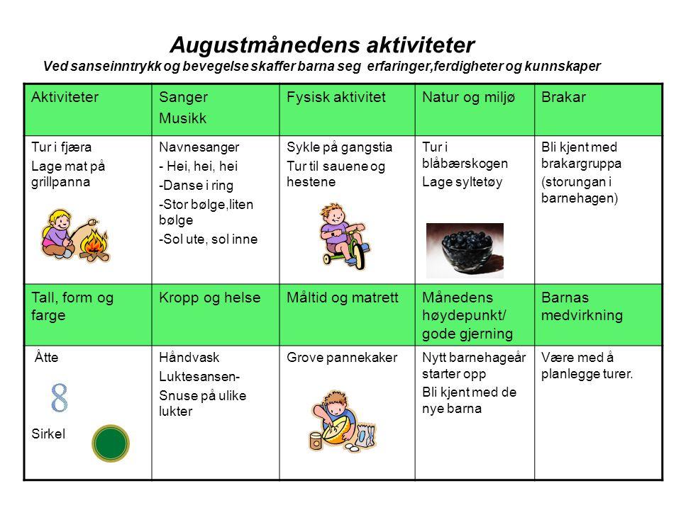 Augustmånedens aktiviteter Ved sanseinntrykk og bevegelse skaffer barna seg erfaringer,ferdigheter og kunnskaper