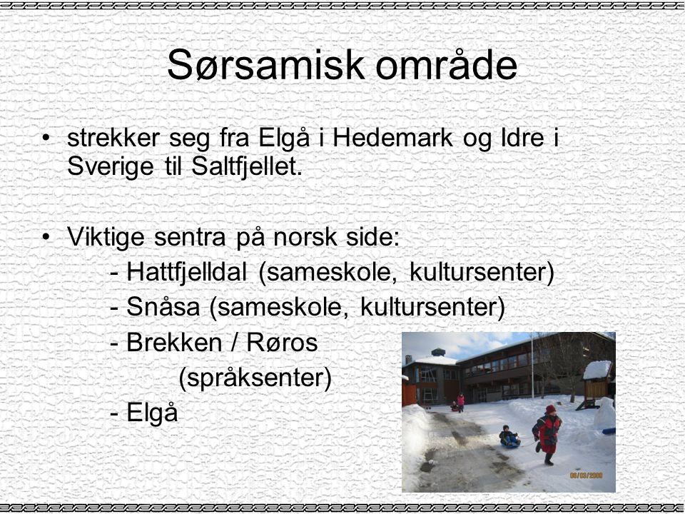 Sørsamisk område strekker seg fra Elgå i Hedemark og Idre i Sverige til Saltfjellet. Viktige sentra på norsk side: