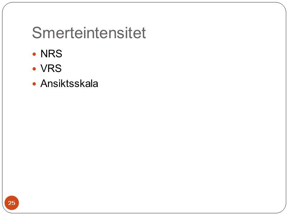 Smerteintensitet NRS VRS Ansiktsskala