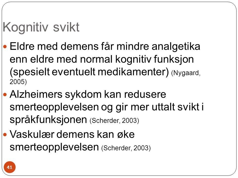 Kognitiv svikt Eldre med demens får mindre analgetika enn eldre med normal kognitiv funksjon (spesielt eventuelt medikamenter) (Nygaard, 2005)