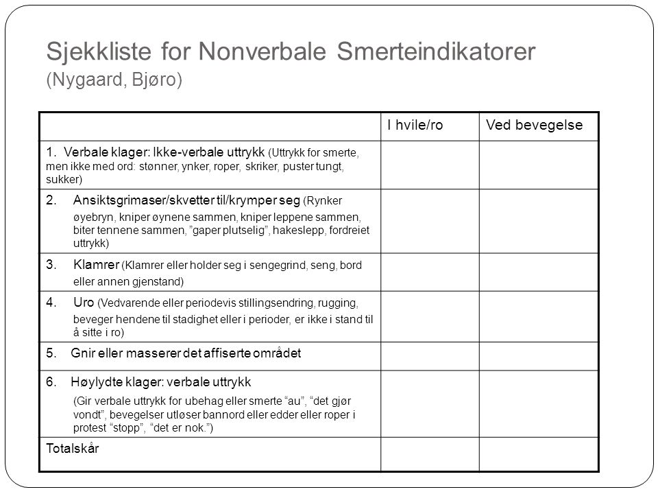 Sjekkliste for Nonverbale Smerteindikatorer (Nygaard, Bjøro)