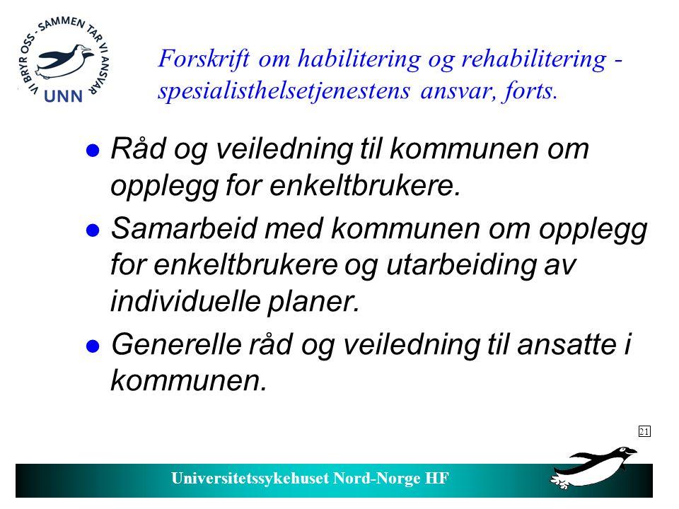Råd og veiledning til kommunen om opplegg for enkeltbrukere.