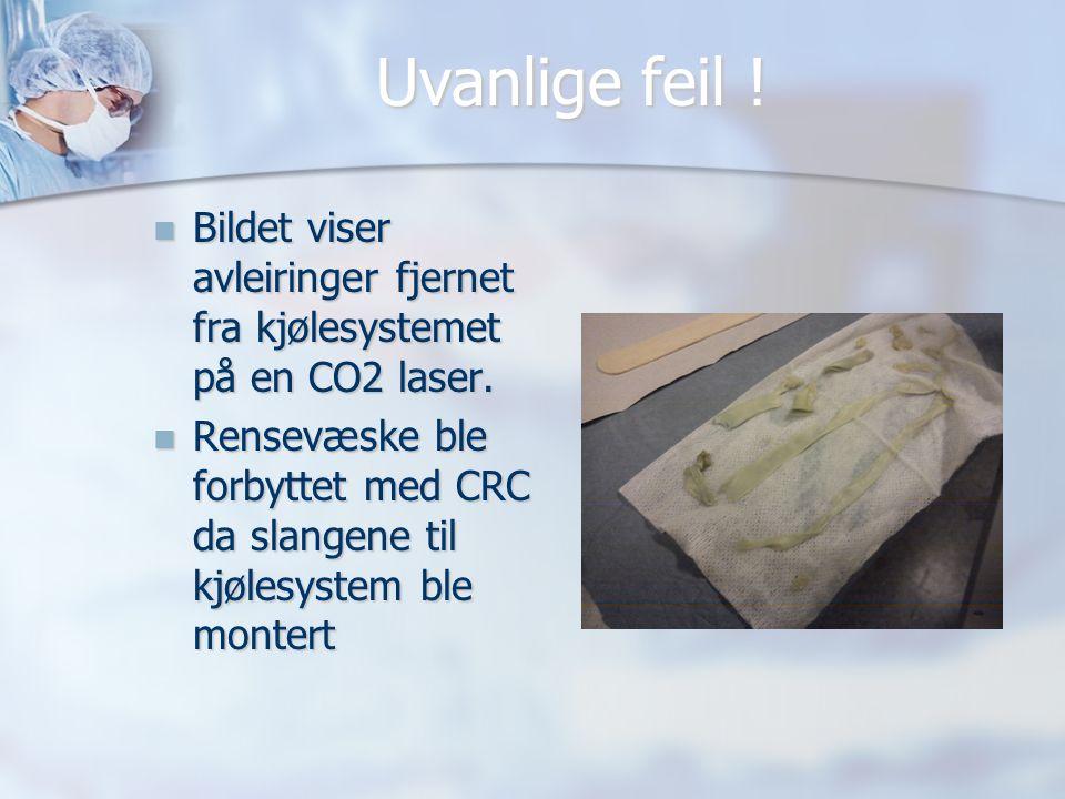 Uvanlige feil ! Bildet viser avleiringer fjernet fra kjølesystemet på en CO2 laser.
