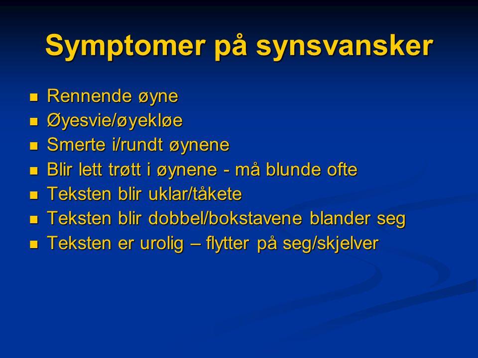 Symptomer på synsvansker