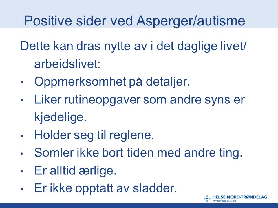Positive sider ved Asperger/autisme