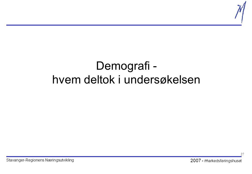 Demografi - hvem deltok i undersøkelsen