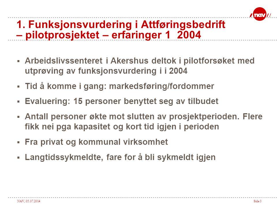1. Funksjonsvurdering i Attføringsbedrift – pilotprosjektet – erfaringer 1 2004