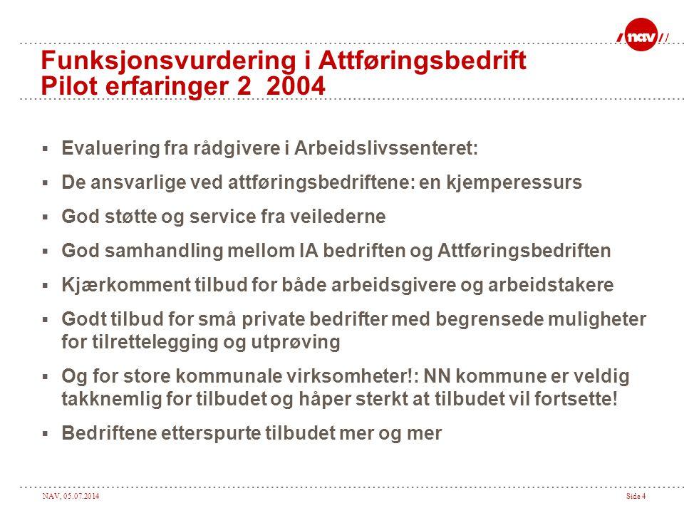 Funksjonsvurdering i Attføringsbedrift Pilot erfaringer 2 2004