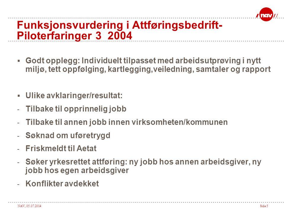 Funksjonsvurdering i Attføringsbedrift- Piloterfaringer 3 2004