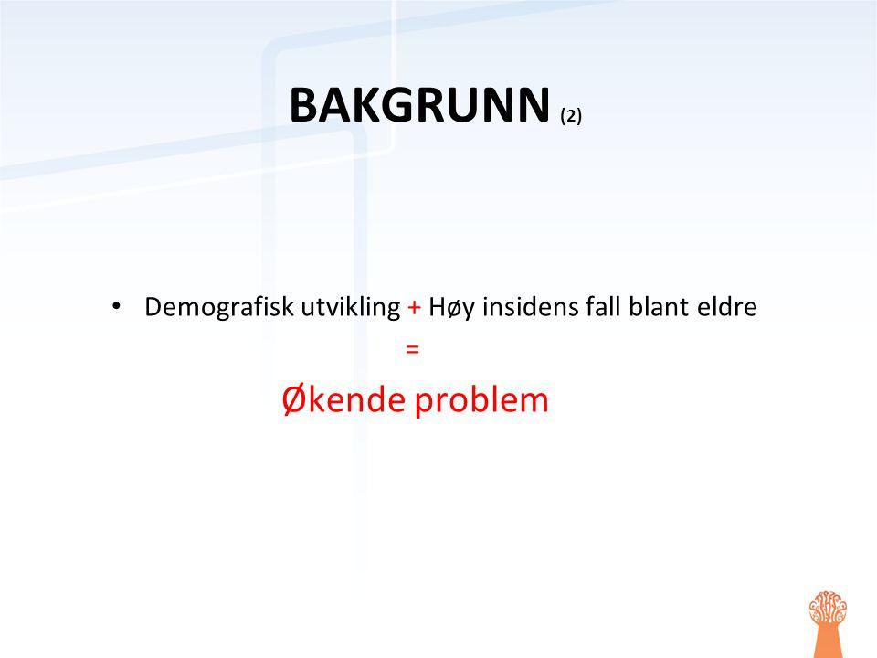 BAKGRUNN (2) Demografisk utvikling + Høy insidens fall blant eldre =