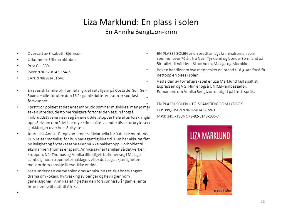 Liza Marklund: En plass i solen En Annika Bengtzon-krim